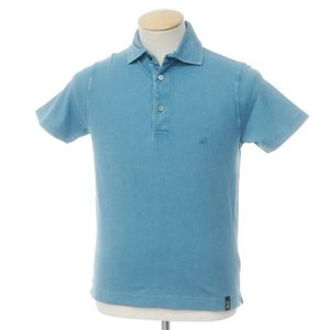 ドルモア Drumohr コットン 鹿の子 半袖 ポロシャツ ブルー S|ritagliolibro