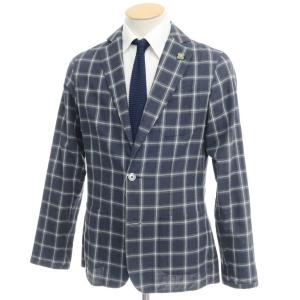 ラルディーニ LARDINI コットン チェック シャツジャケット ネイビー×モスグリーン XS ritagliolibro