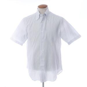 バルバ BARBA ストライプ コットンリネン 半袖 ボタンダウンシャツ ホワイト×ブルー M|ritagliolibro