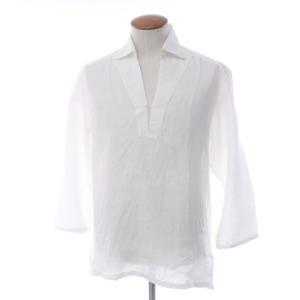バルバ BARBA リネン カプリシャツ ホワイト 39|ritagliolibro