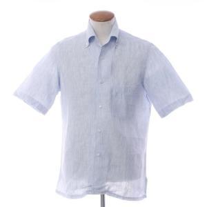 バルバ BARBA ストライプ リネン 半袖 イタリアンカラーシャツ ブルー×ホワイト 39|ritagliolibro