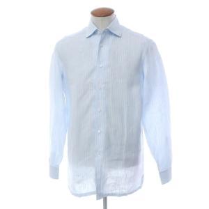 ルイジ ボレッリ LUIGI BORRELLI ストライプ リネン ワイドカラーシャツ サックス×ホワイト 39 ritagliolibro