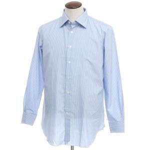 アウトレット ヴィンツェンツォ ディ ルジエッロ Vincenzo di Ruggiero ストライプ コットン ドレスシャツ ブルー 44|ritagliolibro