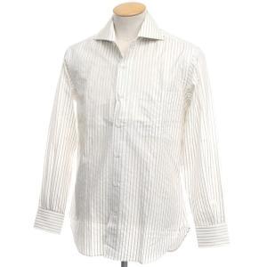 アウトレット オリアン ORIAN ストライプ コットン ワイドカラードレスシャツ ホワイト×オリーブ 38|ritagliolibro