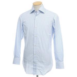 アウトレット ヴィンツェンツォ ディ ルジエッロ Vincenzo di Ruggiero ストライプ コットン ドレスシャツ ライトブルー×ホワイト 37|ritagliolibro