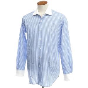 アウトレット オリアン ORIAN ストライプ コットン ワイドカラー クレリックシャツ ブルー×ホワイト 40 ritagliolibro