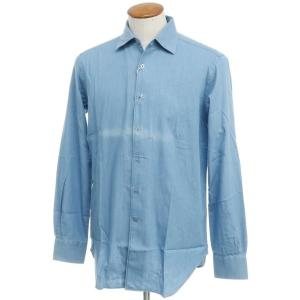 アウトレット オリアン ORIAN インディゴ染 コットン セミワイドカラー シャツ ブルー 40|ritagliolibro
