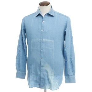 アウトレット オリアン ORIAN インディゴ染 コットン セミワイドカラー シャツ ブルー 41|ritagliolibro