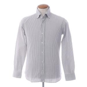 オリアン ORIAN ストライプ コットンサッカー ボタンダウンシャツ グレー×ホワイト M|ritagliolibro