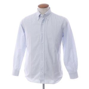 オリアン ORIAN ストライプ コットンオックスフォード ボタンダウンシャツ ブルー×ホワイト M|ritagliolibro