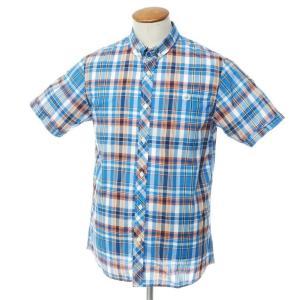 未使用 フレッドペリー FRED PERRY コットン チェック 半袖 ボタンダウン シャツ ブルー×オレンジ M ritagliolibro