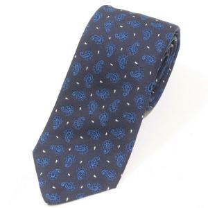 ルイジ ボレッリ LUIGI BORRELLI 小紋柄 3つ折り シルクネクタイ ネイビー×ブルー|ritagliolibro