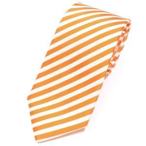 メイカーズシャツ カマクラ Makers Shirt 鎌倉 ストライプ柄 3つ折り シルクネクタイ オレンジ×アイボリー|ritagliolibro