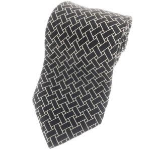 ブリューワー BREUER 三つ折り シルク ネクタイ ジャガード ブラック×アイボリー|ritagliolibro