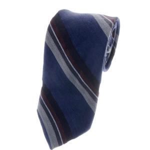 ブリューワー BREUER 三つ折り ストライプ柄 コットンリネンシルク ネクタイ ネイビーブルー×ボルドー系|ritagliolibro