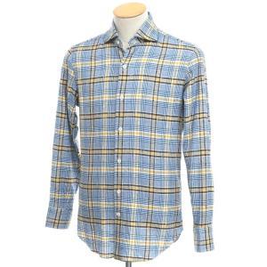 マリアサンタンジェロ Maria Santangelo コットン チェック ワイドカラーシャツ ブルー×イエロー S|ritagliolibro