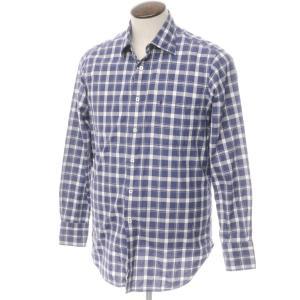 バランタイン BALLANTYNE コットン チェック セミワイドカラー シャツ パープルネイビー×ホワイト 15 3/4|ritagliolibro