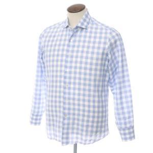 マリアサンタンジェロ Maria Santangelo コットン リネン チェック ワイドカラー ドレスシャツ ホワイト×ブルー 42|ritagliolibro
