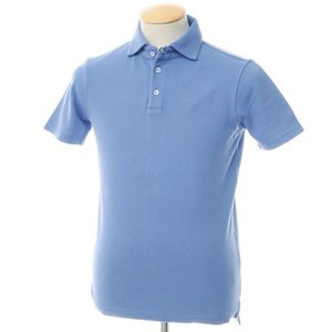 未使用 クルチアーニ Cruciani コットン鹿の子 半袖ポロシャツ ライトブルー 44 ritagliolibro