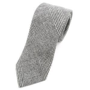 ブリューワー BREUER 三つ折り グレンチェック柄 ウール ネクタイ グレー|ritagliolibro