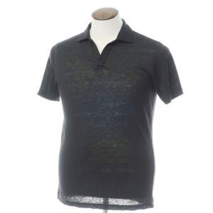 グランサッソ GRAN SASSO リネン天竺 半袖スキッパーポロシャツ ブラック 48 ritagliolibro
