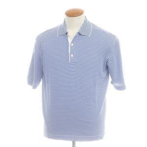 マーロ malo コットン ボーダー 半袖ポロシャツ ホワイト×ブルー 46|ritagliolibro