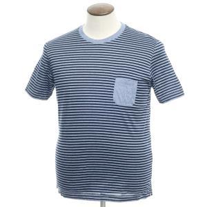 グランサッソ GRAN SASSO コットン天竺 ボーダー クルーネック 半袖Tシャツ ブルー×ネイビー 50 ritagliolibro