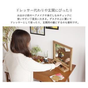 鏡 卓上 大きめ おしゃれ 卓上ミラー 木製 大きい デスクミラー スタンドミラー メイク用卓上ミラー|ritmato|04