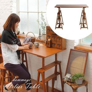 デスク 高さ調節 テーブル 長方形 おしゃれ 木製 つくえ 机 作業台 120cm 高さ調節テーブル|ritmato
