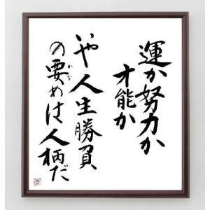 名言色紙『運か努力か才能か、いや人生勝負の要めは人柄だ』/額付き rittermind