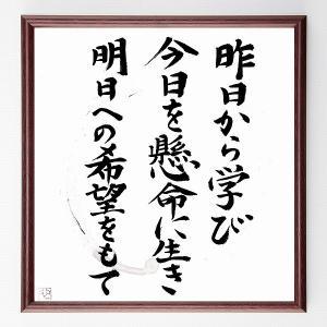 名言色紙『昨日から学び、今日を懸命に生き、明日への希望をもて』額付き/在庫品