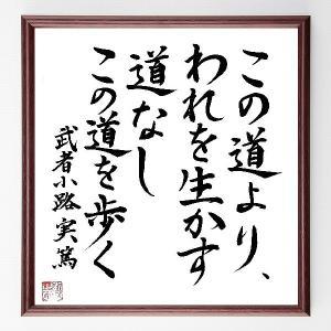 『この道より、われを生かす道なし、この道を歩く』武者小路実篤/直筆名言色紙/額付き
