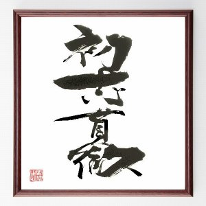 四字熟語色紙『初志貫徹』額付き/直筆済み|rittermind