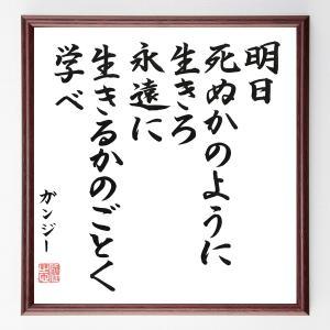ガンディー(ガンジー)の名言色紙『明日死ぬかのように生きろ、永遠に生きるかのごとく学べ』額付き/直筆済み|rittermind