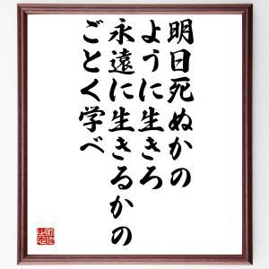 名言本色紙『明日死ぬかのように生きろ、永遠に生きるかのごとく学べ』ガンジー/額付き/受注後直筆制作|rittermind