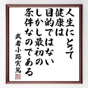 武者小路実篤の名言色紙『人生にとって健康は目的ではないしかし最初の条件なのである』額付き/受注後直筆