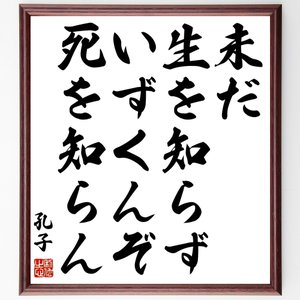 孔子の名言書道色紙『未だ生を知らず、いずくんぞ死を知らん』額付き/受注後直筆|rittermind