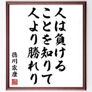 徳川家康の名言色紙『人は負けることを知りて、人より勝れり』額付き/受注後直筆|rittermind