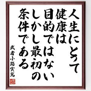 武者小路実篤の名言色紙『人生にとって健康は目的ではない、しかし、最初の条件である』額付き/受注後直筆|rittermind