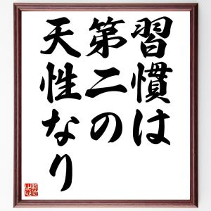 名言色紙『習慣は第二の天性なり』/額付き/受注後直筆制作