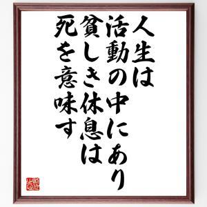 ヴォルテールの名言色紙『人生は活動の中にあり、貧しき休息は死を意味す』額付き/受注後直筆