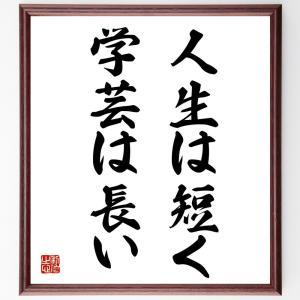 ピポクラテスの名言色紙『人生は短く、学芸は長い』額付き/受注後直筆