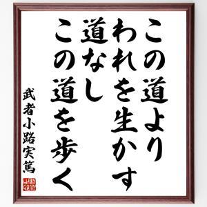 武者小路実篤の名言色紙『この道より、われを生かす道なし、この道を歩く』額付き/受注後直筆|rittermind