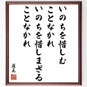 道元の名言書道色紙『いのちを惜しむことなかれ、いのちを惜しまざることなかれ』額付き/受注後直筆 rittermind