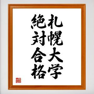 合格祈願色紙『札幌大学、絶対合格(北海道)』額付き/受注後直筆|rittermind