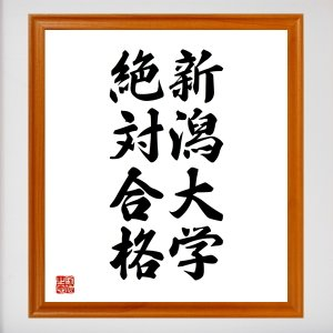 合格祈願色紙『新潟大学、絶対合格(新潟県)』額付き/受注後直筆 rittermind