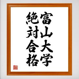 合格祈願色紙『富山大学、絶対合格(富山県)』額付き/受注後直筆 rittermind
