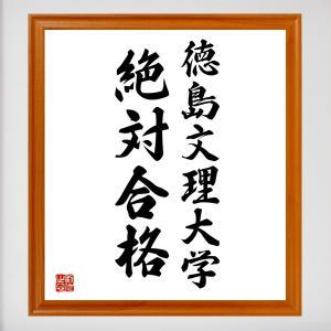 合格祈願色紙『徳島文理大学、絶対合格(徳島県)』額付き/受注後直筆|rittermind
