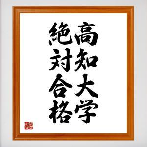 合格祈願色紙『高知大学、絶対合格(高知県)』額付き/受注後直筆|rittermind