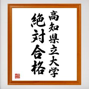 合格祈願色紙『高知県立大学、絶対合格(高知県)』額付き/受注後直筆|rittermind